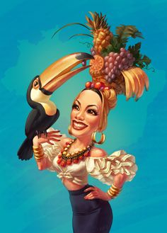 Carmen Miranda by Elizaveta Romanova, via Behance Zumba, Carmen Miranda Costume, Pinup, Havana Nights Party Theme, Banana Art, Tropical, Bird Pictures, Classic Hollywood, Female Art