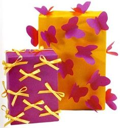3D Wrapping Paper - use the butterflies or hearts in pink/white/yellow.