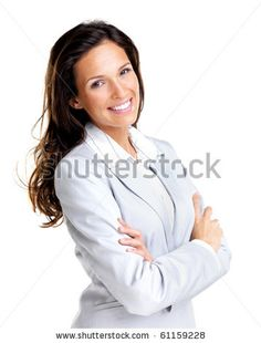 stock photo : Portrait of a confident young business lady standing with folded hand against white background