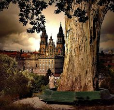 View of the famous cathedral in Santiago de Compostela.  The 700+ mile…