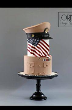 Navy Khaki Ball Cake by Lori Mahoney (Lori's Custom Cakes) Pretty Cakes, Cute Cakes, Beautiful Cakes, Amazing Cakes, Unique Cakes, Creative Cakes, Fondant Cakes, Cupcake Cakes, Army Birthday Cakes
