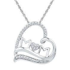925 Sterling Silver 0.16 ctw Diamond Heart Pendant