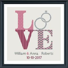 Wedding cross stitch pattern Love sign. Surprise the wedding couple with this beautiful pattern. Its customizable with wedding date and the names from the bride and groom. A full alphabet is included.  Buy 4 patterns and get 25% discount! Place 4 patterns in your cart and enter the code