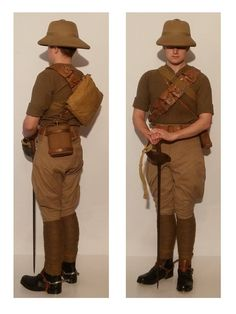 British; Cavalry Trooper, Shirtsleeve order, India 1937. Gives a nice view of Respirator Haversack Mk. V, shown here in cavalry configuration worn on the back with the shoulder sling attached to one of the D-rings on the front of the haversack. The bag is kept in place by a by a small loop of cord on the sling engaging one of the shirt buttons. Note also the puttees worn cavalry style, wound from the knee downward with tapes at the ankle. British Army Uniform, British Uniforms, Mens Riding Boots, Pith Helmet, Uk History, Shoulder Sling, Defence Force, Military Uniforms, World War One