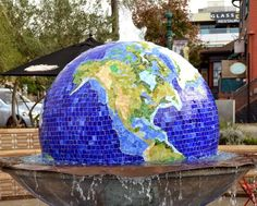 Strolling Through Little Italy, San Diego, California. Mosaic globe fountain at Piazza Basilone. On My Paisley World http://mypaisleyworld.blogspot.com/