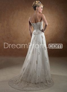 Chiffon Sweeping Train Strapless Wedding Dresses Brown Embroider
