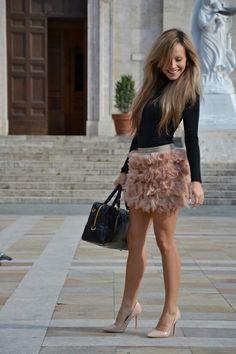 Falda de tul en palo de rosa