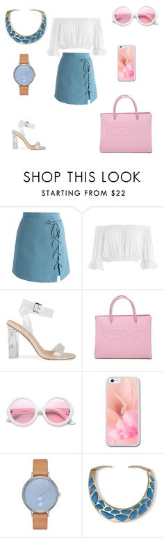 """""""Untitled #1019"""" by wali-emna on Polyvore featuring Chicwish, Sans Souci, Moschino, ZeroUV, Skagen and Kenneth Jay Lane"""