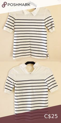 🍓BOGO Tommy hilfiger sweater top collar striped In excellent condition. Like new! Says XXS but fits like an XS-S, see measurements... 100% cotton! Measurements laying flat: armpit to armpit: 15 inches length: 22 inches Smoke and pet free home. Bundle 2 items or more for a private offer! Tommy Hilfiger Tops Tommy Hilfiger Crop Top, Tommy Hilfiger Sweater, Tommy Hilfiger Shirts, Tommy Hilfiger Women, Short Sleeve Cardigan, Long Sleeve Tops, Long Sleeve Shirts, Coral Shirt, Black And White Cardigans