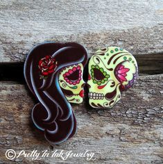 Ashes to Ashes Earrings Day of the Dead by PrettyInInkJewelry
