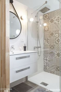 Master bedroom on mezzanine, AM sketch - House side C . Diy Bathroom Vanity, Modern Bathroom, Small Bathroom, Loft Interior, Bathroom Interior, Parents Room, House Siding, Master Bedroom, House Design