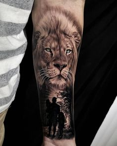 ❗️❗️✨✨ Give credit sus. Lion Leg Tattoo, Lion Tattoo Sleeves, Lion Head Tattoos, Mens Lion Tattoo, Best Sleeve Tattoos, Forearm Tattoo Men, Wolf Tattoos Men, Eagle Tattoos, Tattoos For Guys