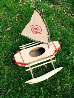 Valentine box Moana boat made from a tissue box for school by Chad and Jenn.  #artistparents