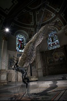 Statue of Lucifer in the Holy Trinity Church in Marylebone, Westminster built to celebrate the defeat of Napoleon. Absolutely beautiful in it's installation