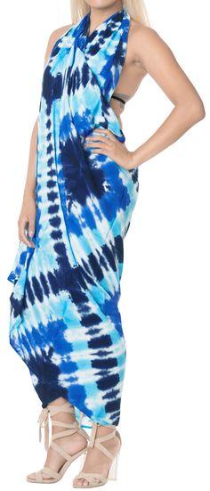 a7867eab3292 LA LEELA Rayon Aloha Bali Cover Up Pareo Sarong Tie Dye 78