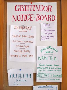 Heaps of Potter Party ideas   Gryffindor Notice Board...