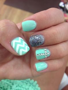 Teal, white chevron, & cross