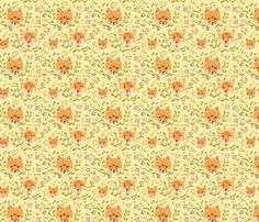 New Foxes and Flowers pattern now for sale in my Spoonflower shop as fabric, wallpaper, decals and wrapping paper. Copyright Vincent Desjardins 2013