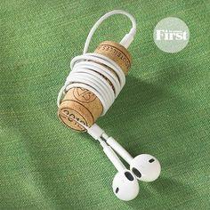 wine cork earbud holder