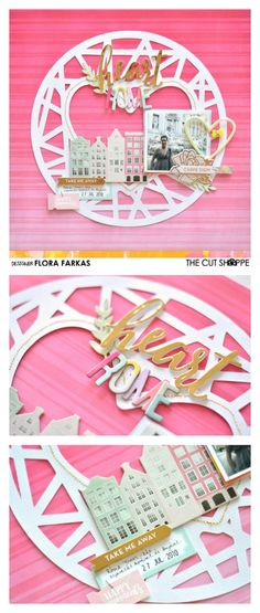 """Heart Rome 12"""" scrapbook layout made with @thecutshoppe cut file and @pinkpaislee Paige Evans Take Me Away collection. by @floramfarkas. #pinkpaislee #takemeaway"""