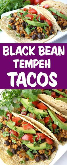 Black Bean Tempeh Tacos Tempeh Recipes Vegan, Vegan Black Bean Recipes, Vegan Mexican Recipes, Delicious Vegan Recipes, Veggie Recipes, Whole Food Recipes, Vegetarian Recipes, Cooking Recipes, Healthy Recipes