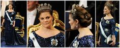 Crown Princess Victoria. Bateau neckline, below-elbow sleeves, body fitting with flared train 'maternity' dress in midnight blue sequinned fabric.