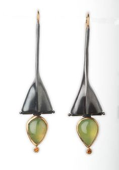 """Alison B. Antelman, """"Tri Form,"""" Earrings, hand fabricated, fold formed, hollow forms, oxidized sterling silver, 18k & 22k gold, vesuvianite, and faceted tangerine garnet."""
