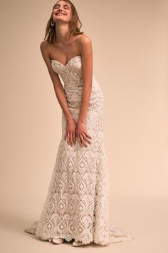 Turn heads in this stunning column gown with allover graphic lace, a classic sweetheart neckline, and sweeping train. Only available at BHLDN This gown is final sale and cannot be returned or exchanged. Bhldn Wedding Gowns, Wedding Dresses For Sale, Wedding Dress Sizes, Plus Size Wedding, Bridal Outfits, Strapless Dress Formal, Lilac, Size 2, Ivory