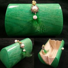 Contessa Eveming Purse Bag in Green Bolivar Veneer