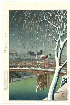 Hasui Kawase: Evening Snow at Edo Rive (1932)