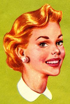 1950s vintage housewife illustration.  . .  smiling til it hurts!  #fifties