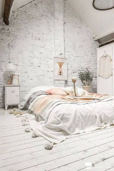 Best All White Room Ideas White Painted Brick Bedroom