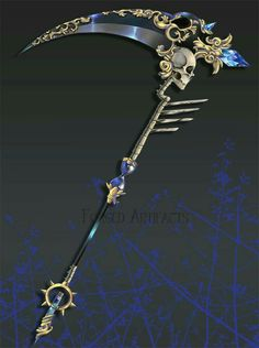 Black, scythe, death, skull, reaper, cool; Anime Weapons