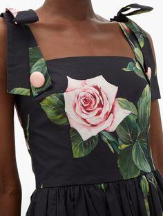 Dolce & Gabbana Tropical Rose-print cotton-poplin dress Pink Faux Fur, Poplin Dress, Gathered Skirt, Printed Cotton, Floral Fashion, Fitness Models, Women Wear, Feminine, Tropical