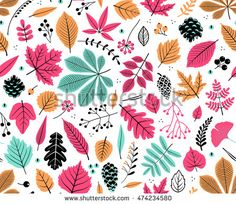 Autumn seamless pattern with leaf, autumn leaf background. Abstract leaf texture. Cute backdrop. Leaf fall. Colorful leaves. White background. The elegant the template for fashion prints. Vector.