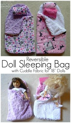 Doll Sleeping Bag with Cuddle Fabric - Fairfield World Craft Projects Free Pattern for making a super cozy Reversible Doll Sleeping Bag. I want one for myself!Free Pattern for making a super cozy Reversible Doll Sleeping Bag. I want one for myself! American Girl Outfits, Ropa American Girl, American Girl Crafts, American Doll Clothes, Sewing Doll Clothes, Baby Doll Clothes, Sewing Dolls, Ag Dolls, Barbie Clothes