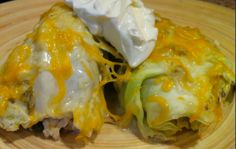 Simple Cabbage Enchiladas Recipe. Cabbage is SO INCREDIBLY GOOD FOR YOU! I've been looking for more ways to add it into my food. Could even do this with taco meat and the fixins