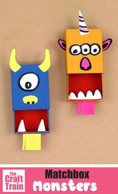 Turn a matchbox into a munching monster puppet with this simple tutorial. THis is a fun upcycling craft for Halloween and also makes a great DIY toy kids will love #matchboxcraft #kidscraft #monstercraft #puppets #diytoy #thecrafttrain Monster Activities, Craft Activities For Kids, Preschool Crafts, Craft Ideas, Easy Crafts For Kids, Fun Crafts, Matchbox Crafts, Homemade Paint, Halloween Ideas