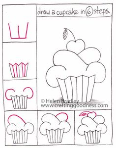 ... cupcake   Crafting Goodness dessin cupcakes, cupcake doodles, how to