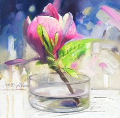 Still life painting with flower pink Magnolia Canvas Art