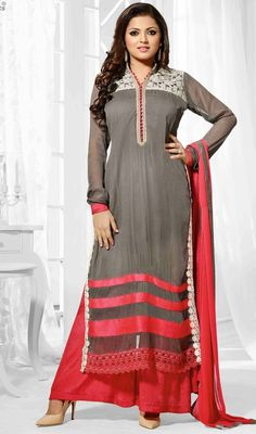 Stun the crowd like Madhubala wearing this gray and red embroidered chiffon long palazzo suit. The lace and work on dress personifies entire appearance. #CottonLacePotliButtonStylePalazzoDress