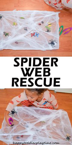 Spider Web Rescue - HAPPY TODDLER PLAYTIME Spider Web Rescue is an easy to set up fine motor activity perfect for Halloween! Your little one will love rescuing insects before the spider eats them! Toddler Fun, Toddler Crafts, Toddler Activities, Toddler Sensory Bins, Sensory Activities, Sensory Play, The Very Busy Spider, Halloween Crafts For Toddlers, Preschool Halloween Activities