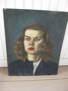 Mid Century Painting Female Portrait Oil On Board 1940s