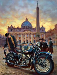"For Harley-Davidson's 110th European Celebration, Official oil painter for Harley-Davidson, David Uhl created this stunning portrait of a 48' Panhead entitled ""Chance Encounter"""