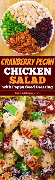 Cranberry Pecan Chicken Salad with Poppy Seed Dressing - also great for leftover Thanksgiving turkey meat! gluten free holiday recipe