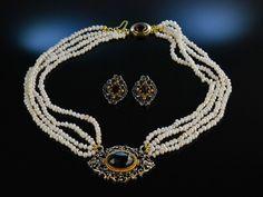 Feinstes Funkeln! Trachten Perlen Collier und Ohrclipse Granat Silber 835 vergoldet, Trachten Set für festliche Anlässe, schön zum Braut Dirndl, traditioneller Trachtenschmuck bei Die Halsbandaffaire