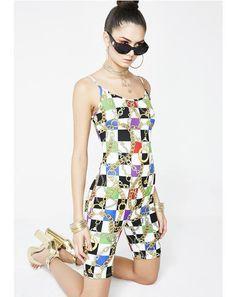 5b59cc6831b Mad Guap Checkered Bodysuit  dollskill  versace  gold  chains  animalprint   newarrivals