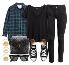 """""""Style #9092"""" by vany-alvarado ❤ liked on Polyvore featuring H&M, Forever 21, Converse, Chanel and Ray-Ban"""