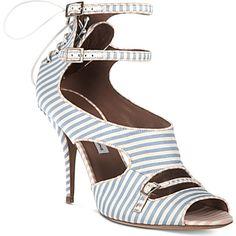 TABITHA SIMMONS Striped satin sandals