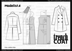 """""""the trench-coat, is a part of the fascinating history of the clothes. Not jeans. The two of them have origins right up your street. Litar for the first time. Coat Patterns, Dress Patterns, Sewing Patterns, Sewing Coat, Modelista, Pattern Drafting, Everyday Outfits, Pattern Making, Modeling"""